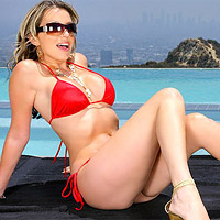Courtney Cummz in red bikini wet banging